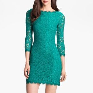 Diane von Furstenberg DVF Zarita Lace Dress Teal 6